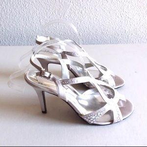Lulu Townsend silver satin sparkly peep toe heels